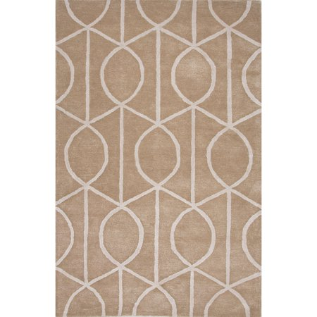 Apricot Wool - 3.5' x 5.5' Apricot and Ivory Seattle Modern Wool and Art Silk Hand Tufted Area Throw Rug