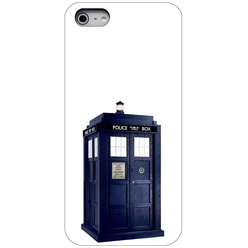 CUSTOM Black Hard Plastic Snap-On Case for Apple iPhone 5 / 5S / SE - TARDIS Police Call Box
