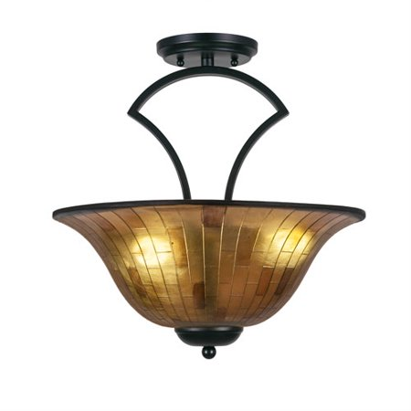 Zilo Matte Black Three-Light Semi-Flush with 16-Inch Penshell Resin Shade