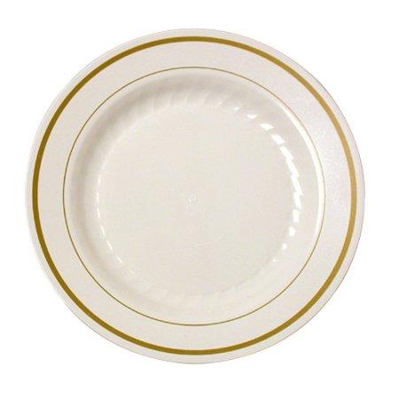 WNA Masterpiece Polystyrene Round Unlaminated Band Edge Plate Ivory, 6