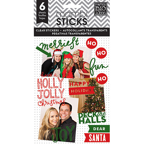 Me and My Big Ideas Pocket Pages Clear Stickers, 6 Sheets, Holly Jolly Christmas