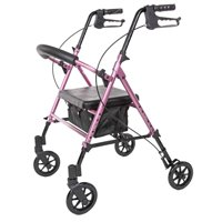 Carex Step 'N Rest Aluminum Rolling Walker For Seniors, Pink, Rollator Walker With Seat, Back Support, 6 Inch Wheels, 250lbs Support, Lightweight