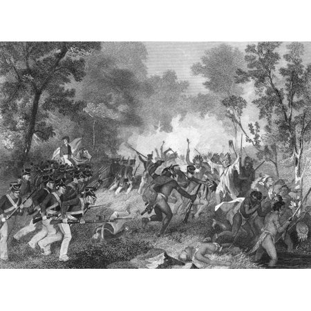 Battle Of Tippecanoe 1811 Na US Force Under General William Henry Harrison Defeats Native Americans Under Tenskwatawa The Prophet Brother Of Tecumseh 7 November 1811 Engraving 19Th Century Rolled