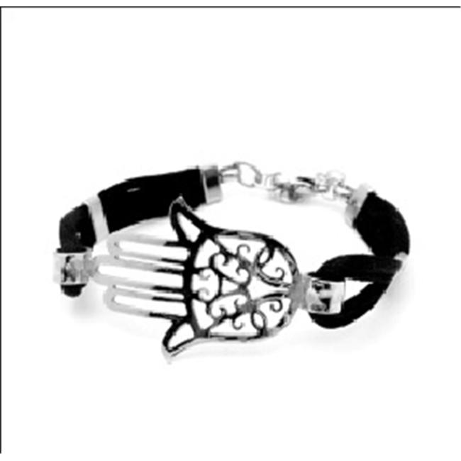 AAB Style SBR-1222 Stainless Steel Bracelet with Red Cord and HAMSA Design