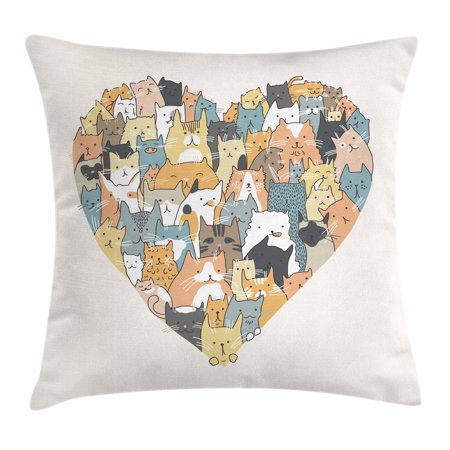 Multi Colored Paw Prints - Cat Lover Throw Pillow Cushion Cover, Heart Shape with Filling of Different Colored Cats Illustration Little Cat Paws, Decorative Square Accent Pillow Case, 16 X 16 Inches, Multicolor, by Ambesonne