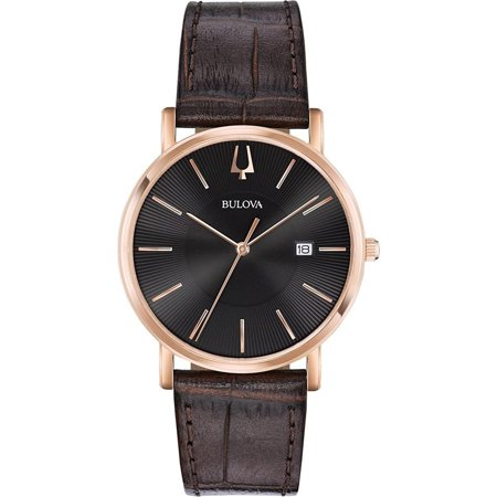 Bulova Men's Rose Gold Tone Date Watch with a Genuine Leather Strap 97B165 (Genuine Leather Watches For Men)