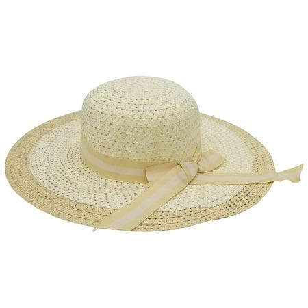 Tan Stripe Bow - Woven Sun Hats for Women, Chic Summer Ladies Fashion Hat, Sylish Ribbon (Striped Bow - Tan, 1 Pack)