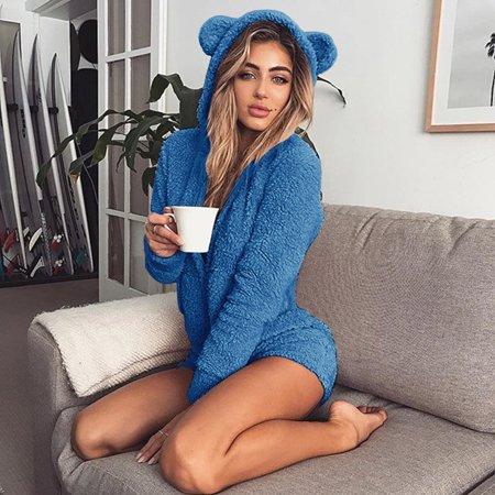 Warm Pajama Hooded Cute Rabbit Ear Fleece Women Soft Velvet Onesies Jumpsuit Long Sleeve Shorts Sleepwear leisure - Disney Onesies For Adults