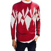 Men's Crew Neck Long Sleeve Geometric Pattern Knitting Shirt (Size M / 38)