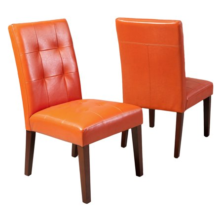 Ramer Tufted Burnt Orange Bonded Leather Dining Chair Set Of 2