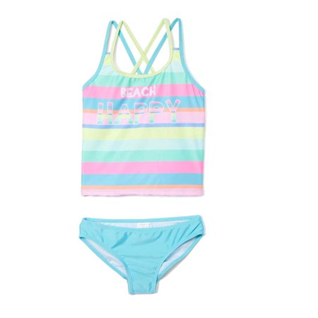 Freestyle Revolution Girls 4-16 Beach Happy Striped Tankini Swimsuit