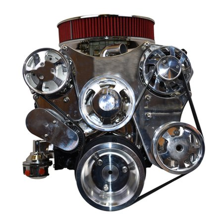 A-Team Performance Serpentine Front Drive System Small Block Compatible with Chevy CHROME Chevy Small Block Supercharger