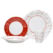 Red Vanilla Panache Rouge 16 Piece Dinnerware Set, Service for 4