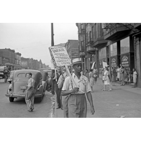 Chicago Picket Line 1941 Npicketers Outside Of The Mid City Realty Company On The South Side Of Chicago Illinois Photograph By John Vachon 1941 Poster Print By Granger Collection