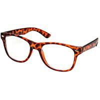 Vintage Inspired Eyewear Original Geek Nerd Tortoise Clear Lens Horn Rimmed Glasses - Clear Nerd Glasses