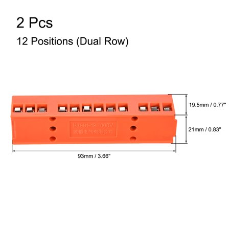 Terminal Block, 600V 36A Dual Row 12 Positions H3801-12 Screw Terminal 2 Pcs - image 2 of 3