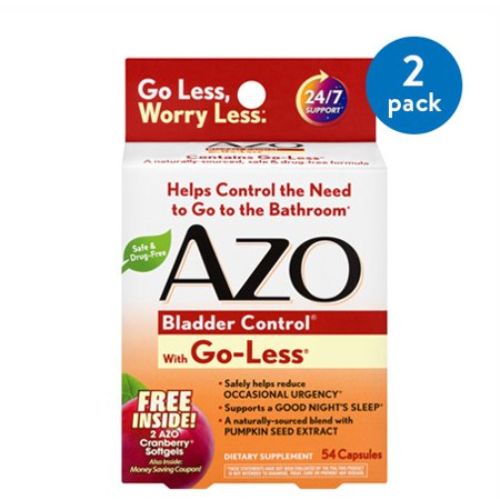 (2 Pack) Azo Bladder Control with Go-Less, Capsules, 54 Ct