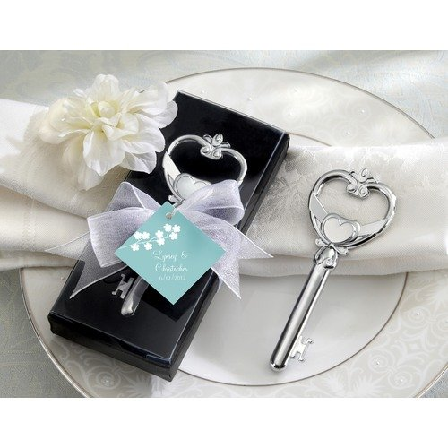 """Key To My Heart"" Victorian Style Bottle Opener Set of 12 by The Aspen Brands Company."