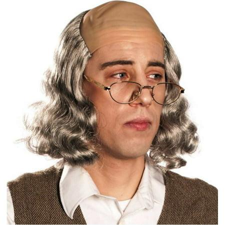 Mr. Ben Wig - Grey Benjamin Franklin Bald Hair Founding Father Inventor - Bald Wigs