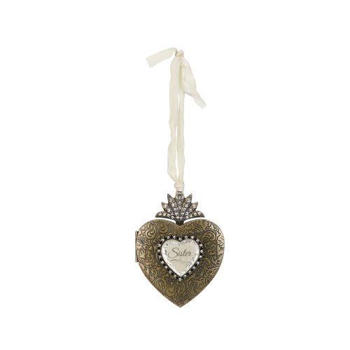Rosdorf Park Payton Sister Heart Locket Photo Ornament