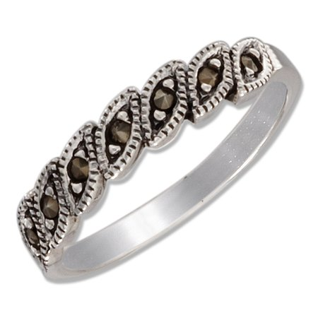 STERLING SILVER MULTIPLE MARQUISE MARCASITE BAND RING