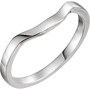 Jewels By Lux 14k White Gold Polished Band For Emerald With Half Moon Size 7