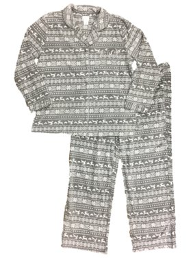 Womens Gray Fleece Nordic Snowflake Print Reindeer Pajamas Holiday Sleep Set