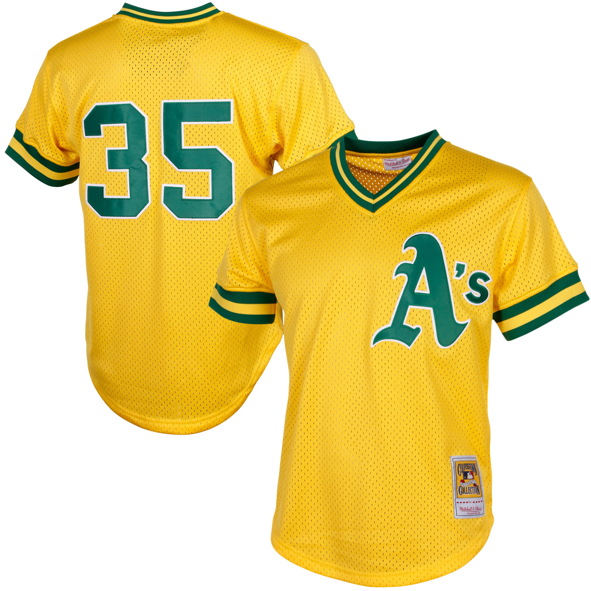 rickey henderson oakland athletics mitchell & ness cooperstown mesh batting practice jersey - yellow