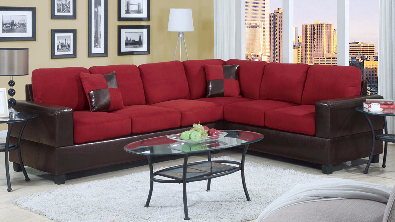 2 Piece Modern Large Microfiber and Faux Leather Sectional Sofa ...