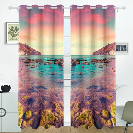 POPCreation Sunset From The Giallonardo Beach Sicily Window Curtain Blackout Curtains Darkening Thermal Blind Curtain for Bedroom Living Room,2 Panel (52Wx84L Inches)