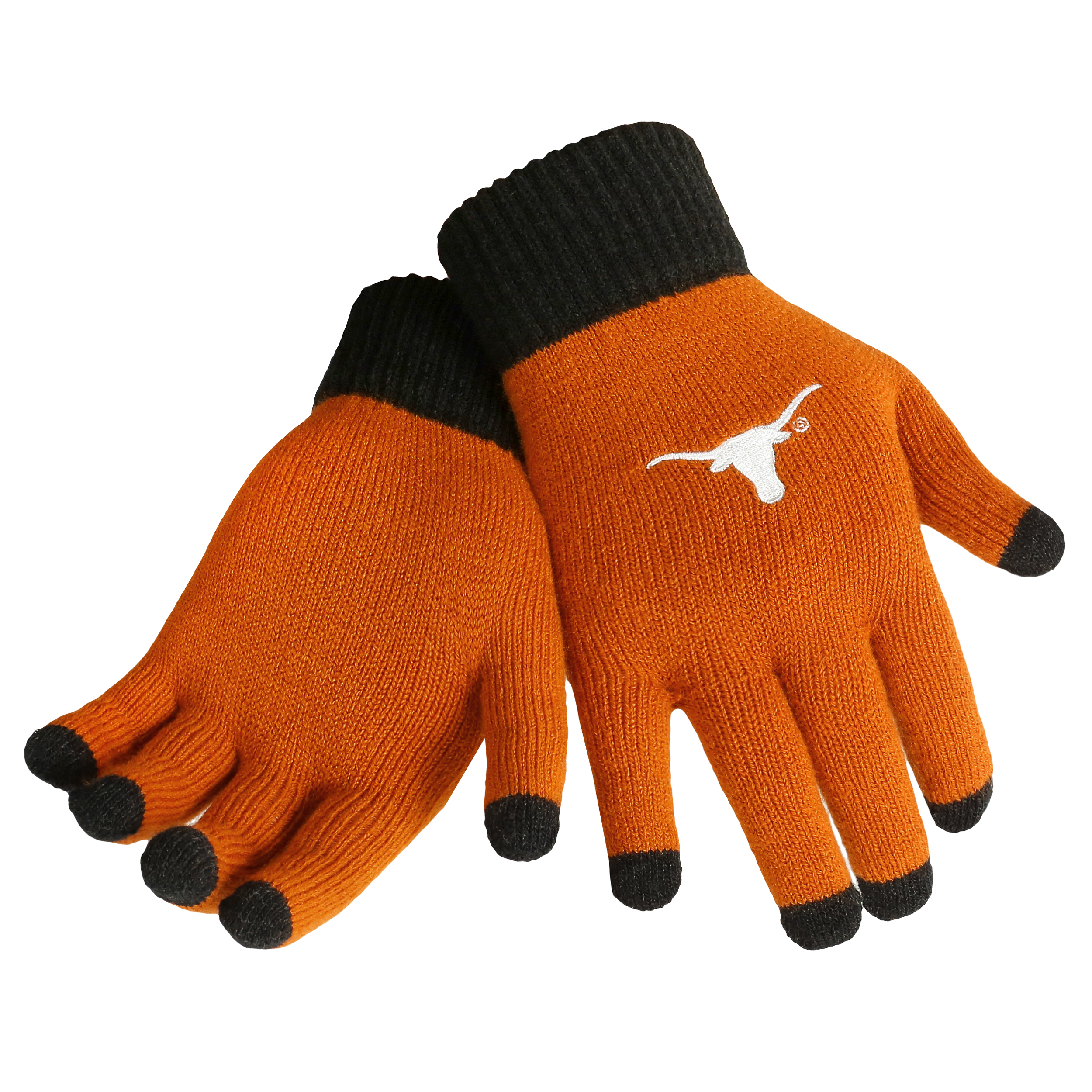 Texas Longhorns Official NCAA Glove Solid Outdoor Winter Stretch Knit by Forever Collectibles 263043 by Forever Collectibles