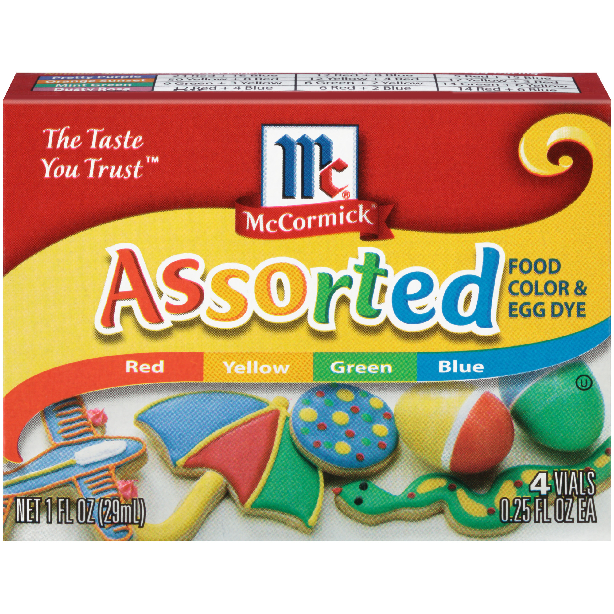 McCormick Assorted Food Color & Egg Dye, 1 fl oz - Walmart.com