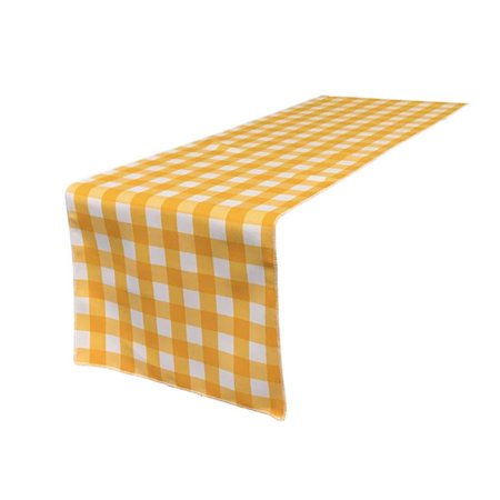 TCcheck14x108-DrkYellowK47 Polyester Gingham Checkered Table Runner, White & Dark yellow - 14 x 108 in.