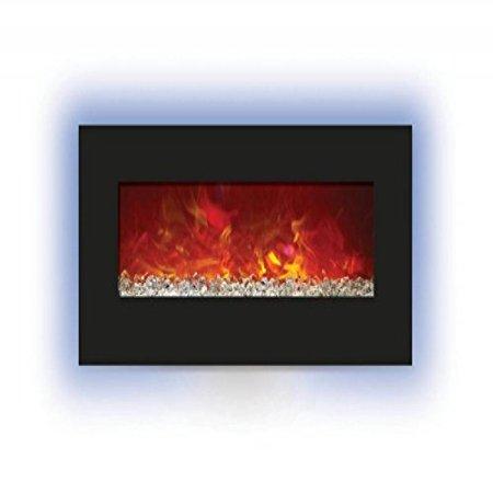 34 electric fireplace with 44 x 23 black glass back light. Black Bedroom Furniture Sets. Home Design Ideas