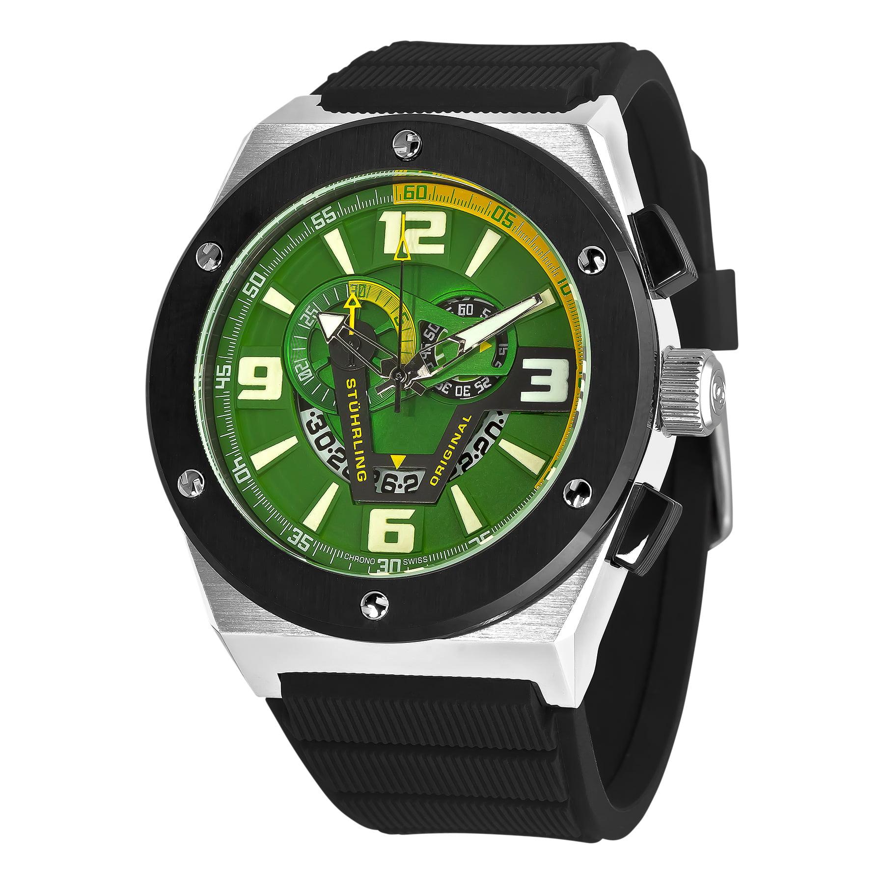 Stuhrling Original Men's 281XL.33165 Esprit Turbine Swiss Quartz Date Green Dial Watch