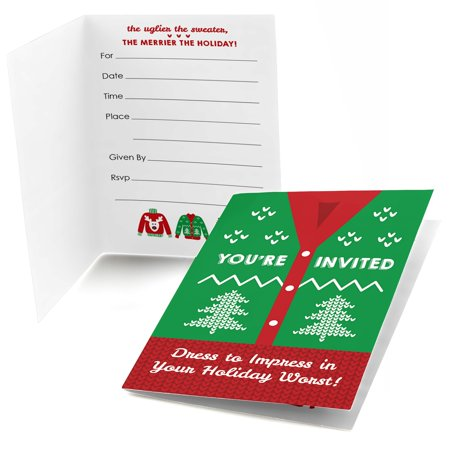 Ugly Sweater - Fill In Holiday & Christmas Party Invitations (8 count) - Ugly Sweater Party Invite