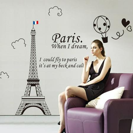 Home Decor amovible Designable PVC Noir DIY Sticker mural Motif Tour Eiffel Blanc 60 x 90 cm - image 3 de 8