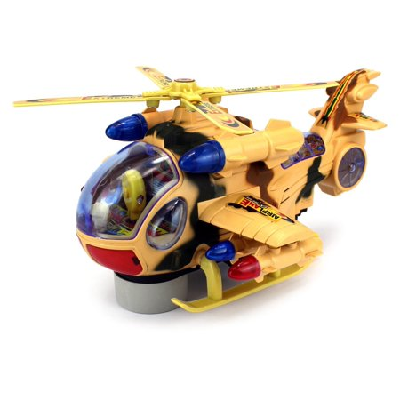 Fighter Copter Battery Operated Bump And Go Toy Helicopter W  Flashing Lights  Sounds  Colors May Vary
