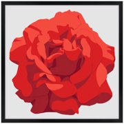 "Artisan 5 Perfect Rose Red 26"" Square Black Giclee Wall Art"
