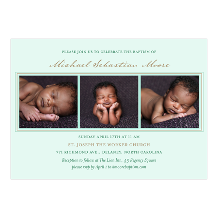 Personalized Baptism/Christening Invitation - Baptism Pattern - 5 x 7 Flat