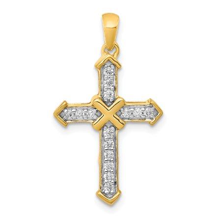 KIOKORI 14K Yellow Gold Passion Diamond Cross Pendant 1/6-Carat