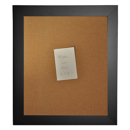 Rayne Mirrors American Made Rayne Black Satin Wide Corkboard