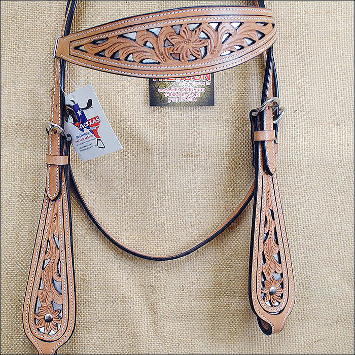 NEW HILASON WESTERN HAND TOOLED LEATHER HORSE BRIDLE HEAD...