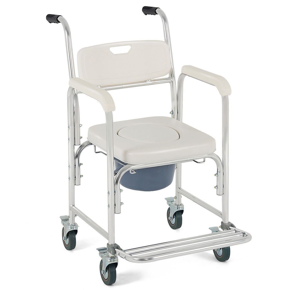 Medical Commode Wheelchair Bedside Toilet Seat Bathroom Shower w Locking  Casters