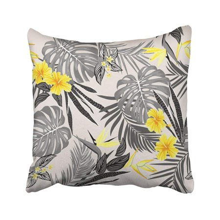 BPBOP Tropical Vivid Tropic Foliage With Monstera Leaf Palm Leaves Bird Of Paradise Flower Pillowcase Throw Pillow Cover 16x16 inches Bird Of Paradise Leaves