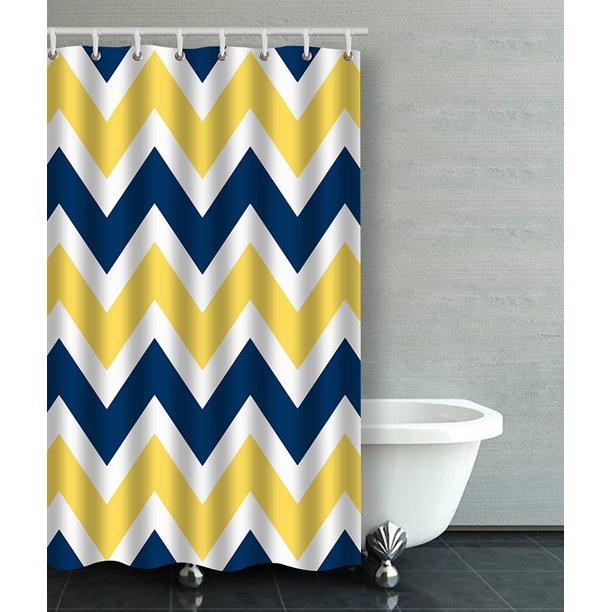 Artjia Navy Blue And Yellow Chevron, Yellow And Blue Bathroom
