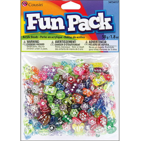 Fun Pack Acrylic Pony Beads, 1.8 oz, Assorted with Rhinestones (Assorted Acrylic Rhinestones)
