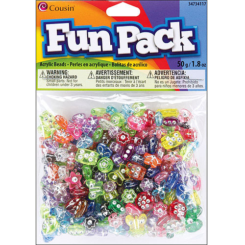 Fun Pack Acrylic Pony Beads, 1.8 oz, Assorted with Rhinestones