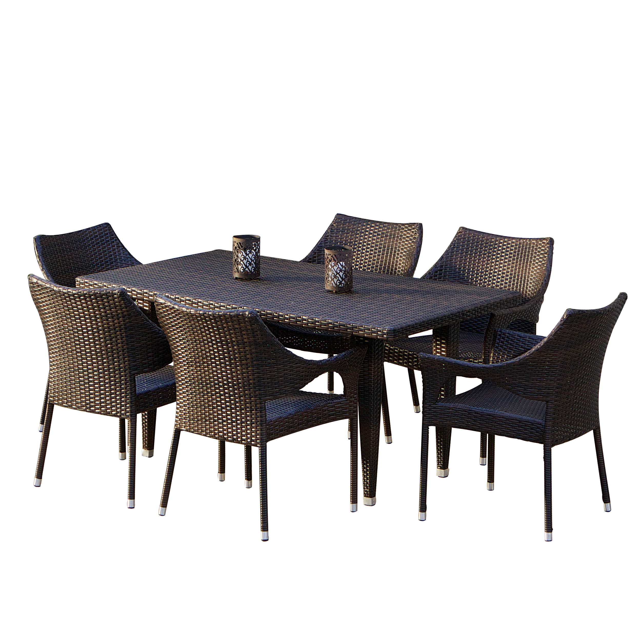Lovely Product Image Brown 7 Piece Outdoor Dining Set