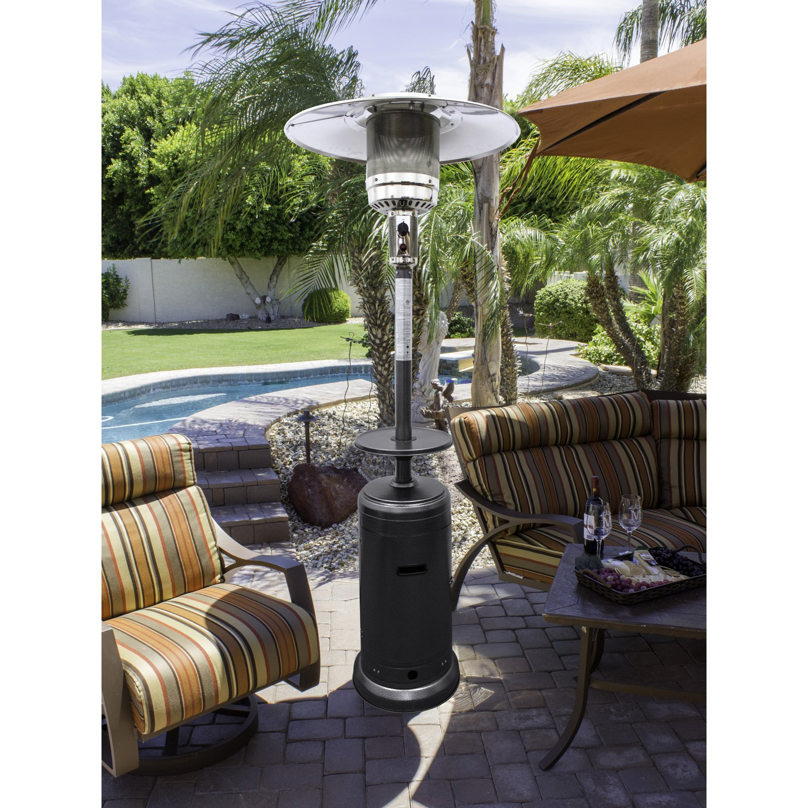 hiland tall hammered silver patio heater with table